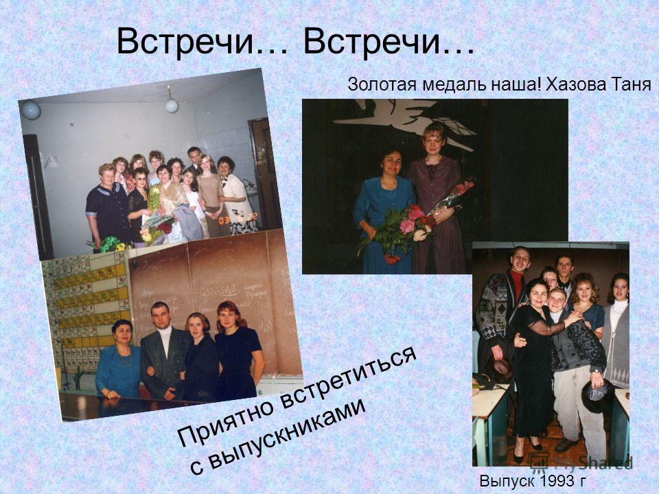 Встречи… Выпуск 1993 г Золотая медаль наша! Хазова Таня Приятно встретиться с выпускниками