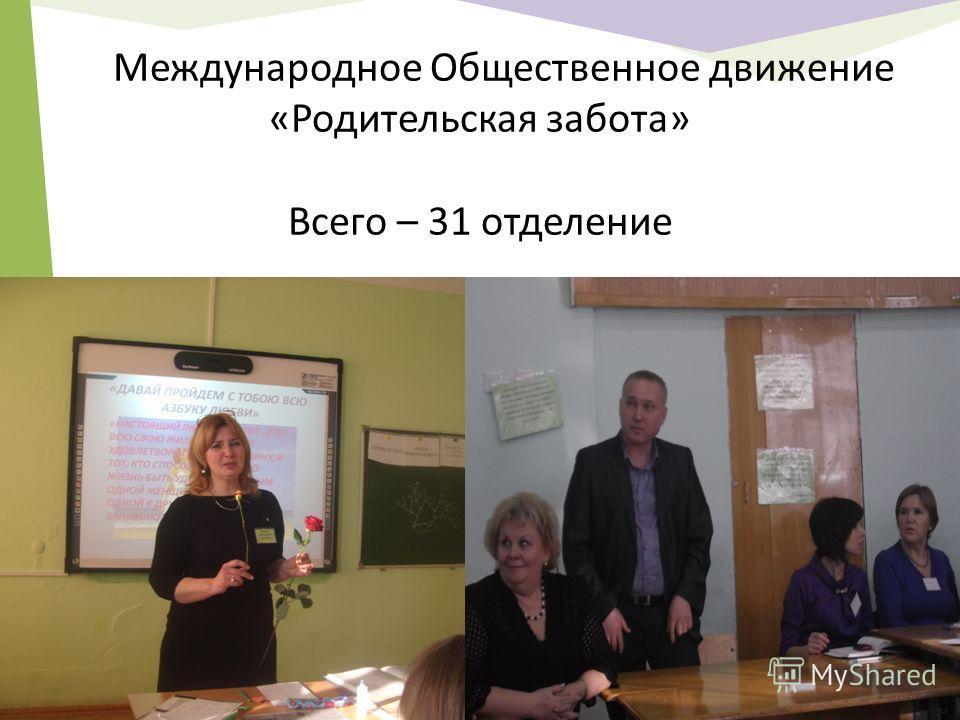Международное Общественное движение «Родительская забота» Всего – 31 отделение