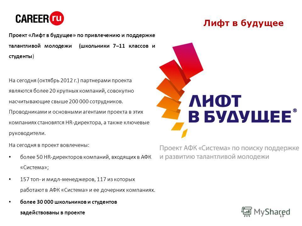 Лифт в будущее Проект «Лифт в будущее» по привлечению и поддержке талантливой молодежи (школьники 711 классов и студенты) На сегодня (октябрь 2012 г.) партнерами проекта являются более 20 крупных компаний, совокупно насчитывающие свыше 200 000 сотруд