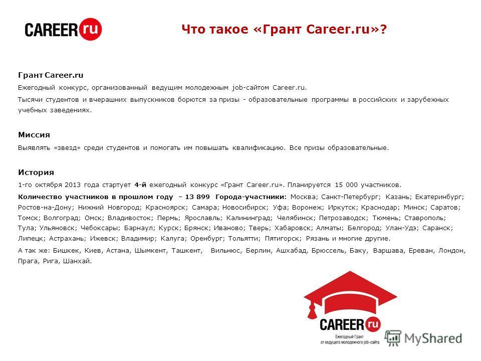 Что такое «Грант Career.ru»? Грант Career.ru Ежегодный конкурс, организованный ведущим молодежным job-сайтом Career.ru. Тысячи студентов и вчерашних выпускников борются за призы - образовательные программы в российских и зарубежных учебных заведениях
