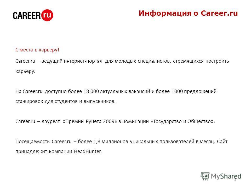 Информация о Career.ru С места в карьеру! Career.ru – ведущий интернет-портал для молодых специалистов, стремящихся построить карьеру. На Career.ru доступно более 18 000 актуальных вакансий и более 1000 предложений стажировок для студентов и выпускни