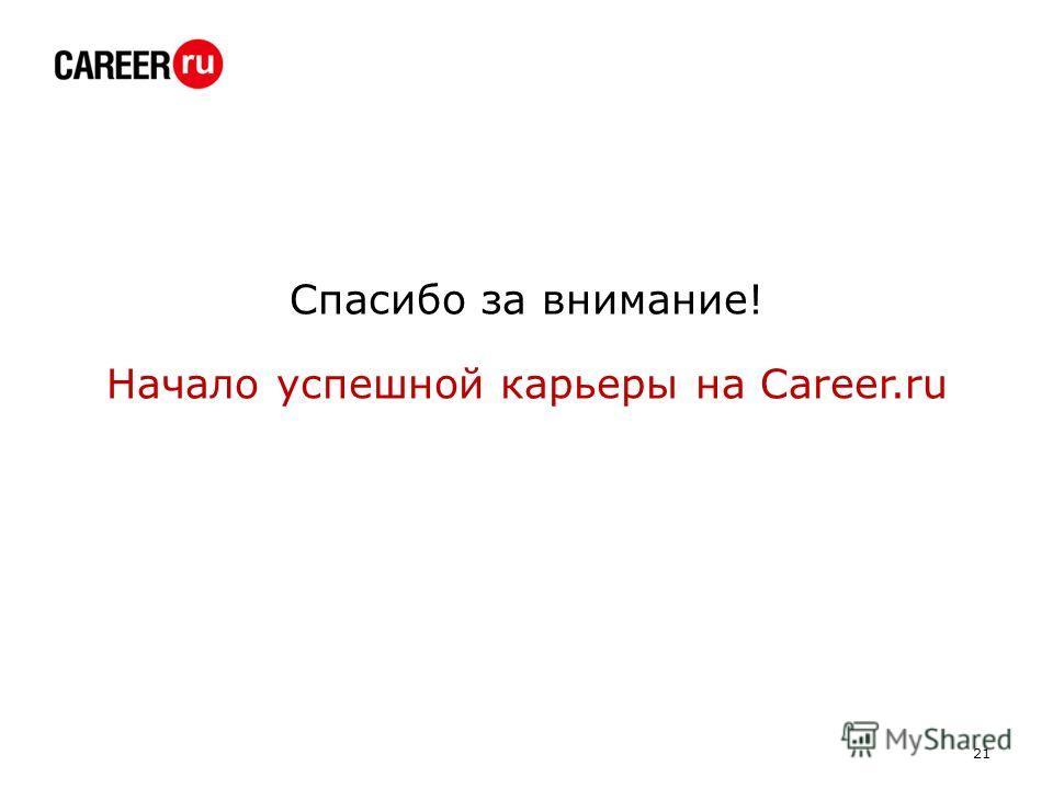 Спасибо за внимание! Начало успешной карьеры на Career.ru 21