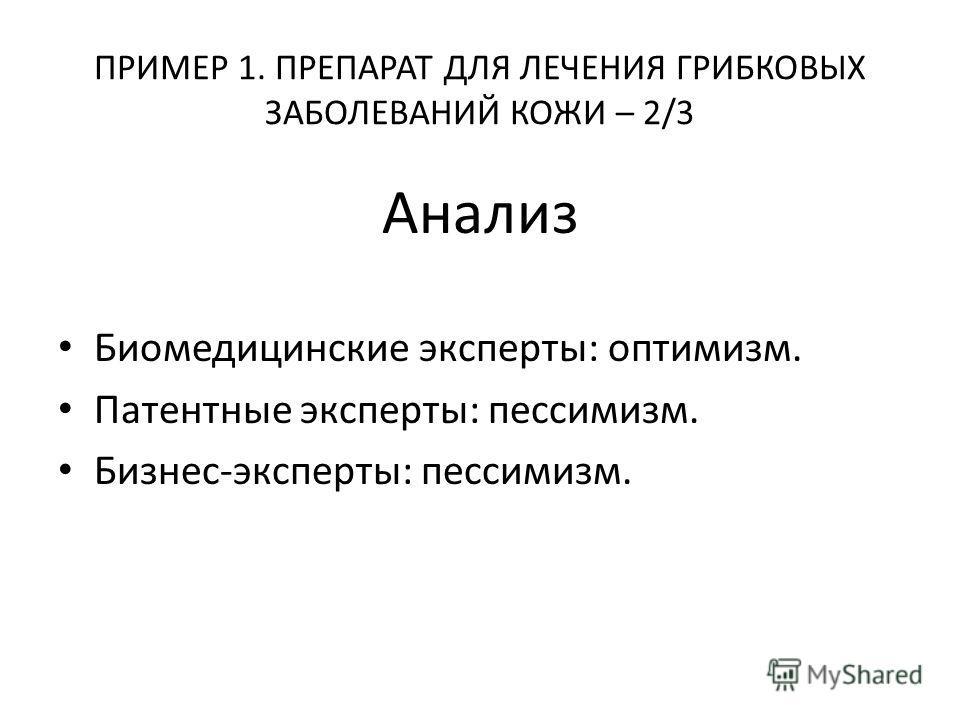ПРИМЕР 1. ПРЕПАРАТ ДЛЯ ЛЕЧЕНИЯ ГРИБКОВЫХ ЗАБОЛЕВАНИЙ КОЖИ – 2/3 Анализ Биомедицинские эксперты: оптимизм. Патентные эксперты: пессимизм. Бизнес-эксперты: пессимизм.