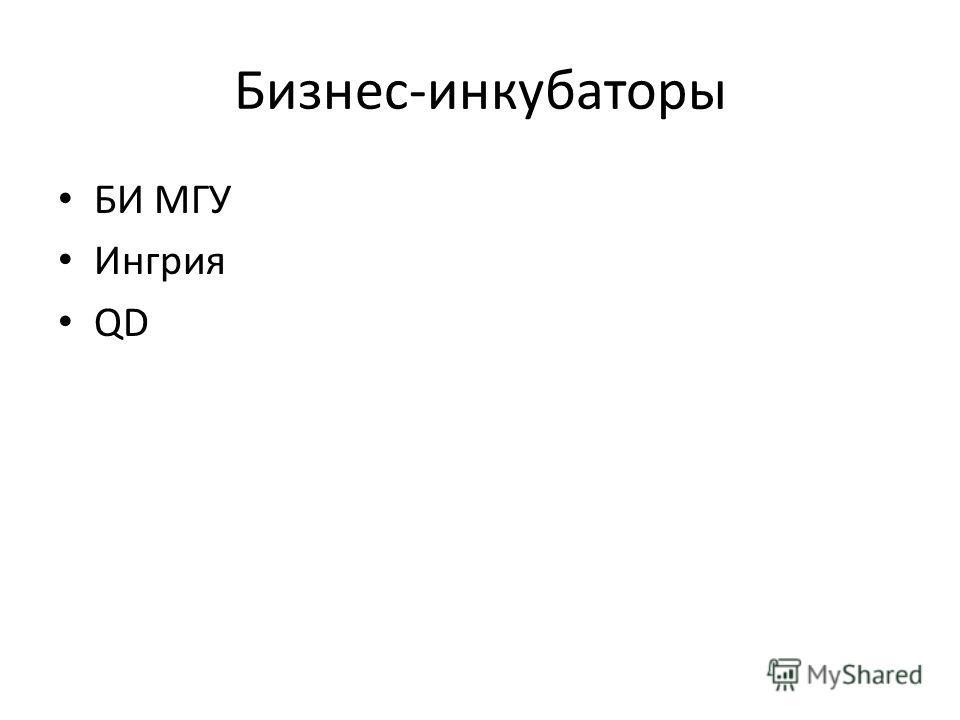 Бизнес-инкубаторы БИ МГУ Ингрия QD