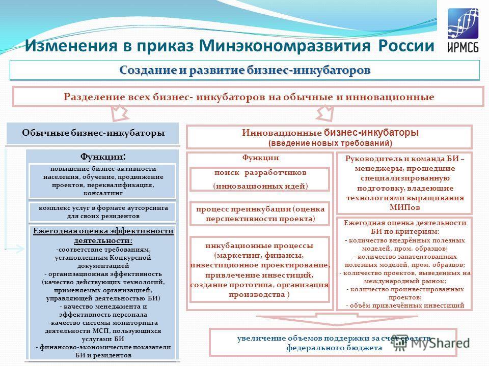Изменения в приказ Минэкономразвития России Создание и развитие бизнес-инкубаторов Разделение всех бизнес- инкубаторов на обычные и инновационные Обычные бизнес-инкубаторы Инновационные бизнес-инкубаторы (введение новых требований) Функции : повышени