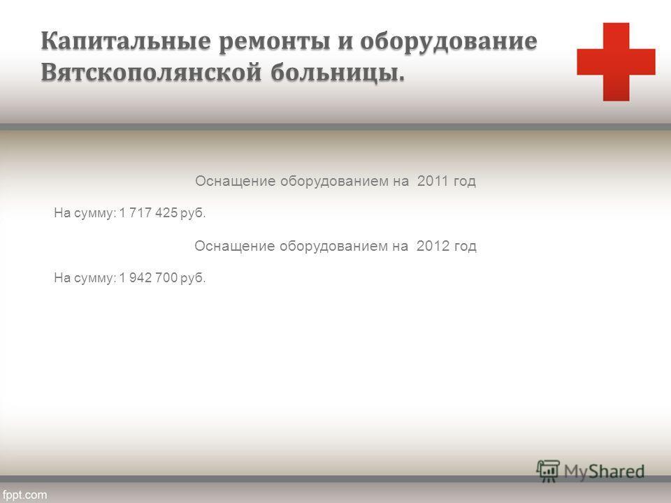 Капитальные ремонты и оборудование Вятскополянской больницы. Оснащение оборудованием на 2011 год На сумму: 1 717 425 руб. Оснащение оборудованием на 2012 год На сумму: 1 942 700 руб.
