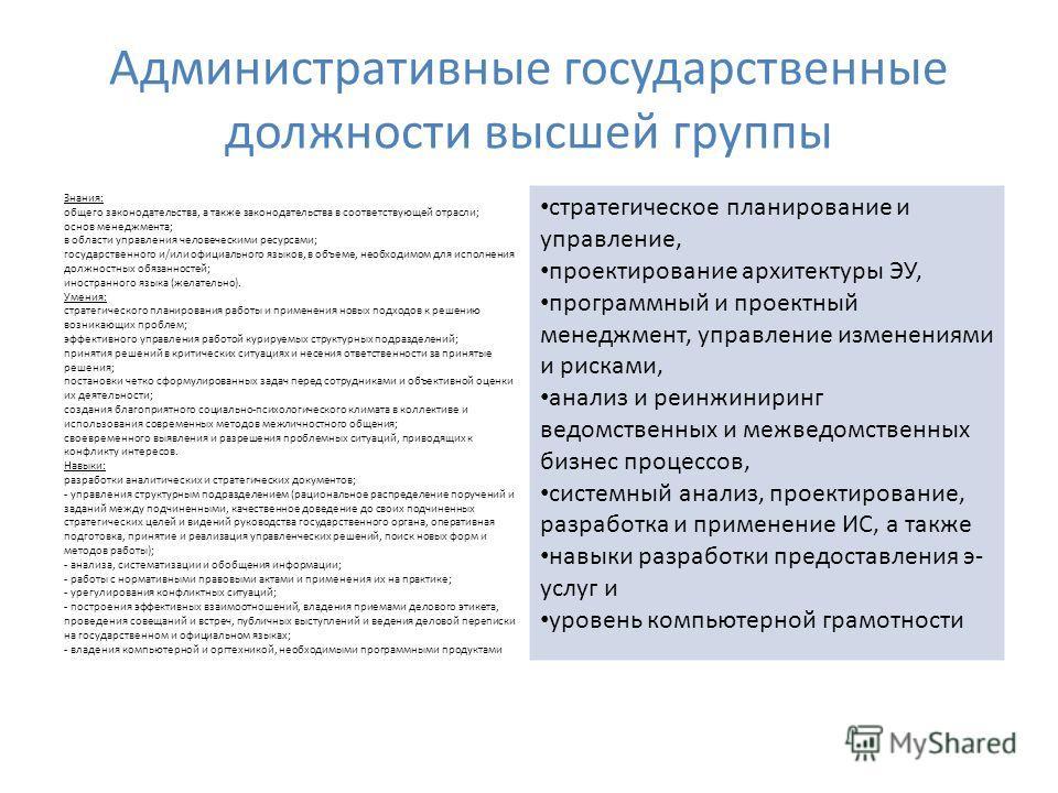 Административные государственные должности высшей группы Знания: общего законодательства, а также законодательства в соответствующей отрасли; основ менеджмента; в области управления человеческими ресурсами; государственного и/или официального языков,