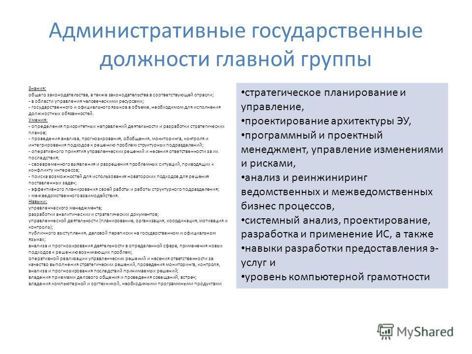 Административные государственные должности главной группы Знания: общего законодательства, а также законодательства в соответствующей отрасли; - в области управления человеческими ресурсами; - государственного и официального языков в объеме, необходи