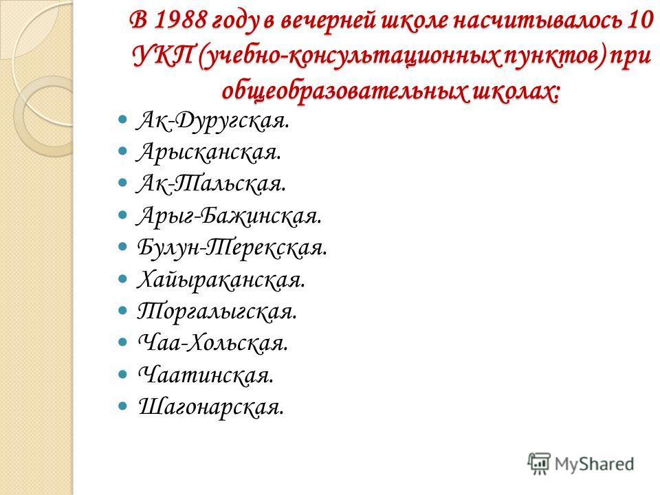 В 1988 году в вечерней школе насчитывалось 10 УКП (учебно-консультационных пунктов) при общеобразовательных школах: Ак-Дуругская. Арысканская. Ак-Тальская. Арыг-Бажинская. Булун-Терекская. Хайыраканская. Торгалыгская. Чаа-Хольская. Чаатинская. Шагона