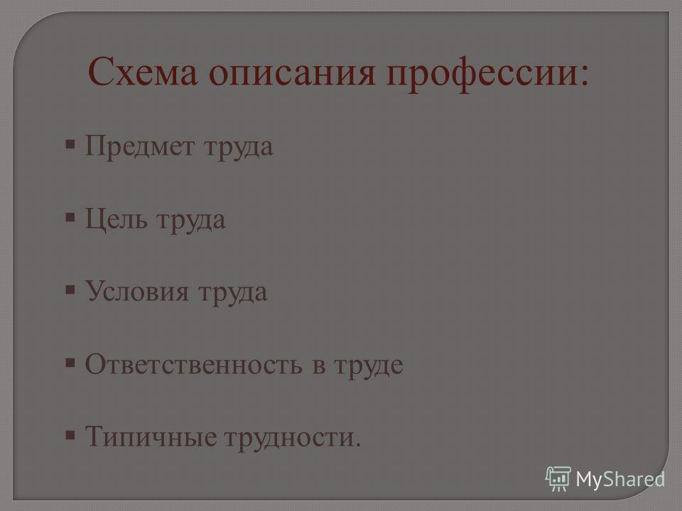Схема описания профессии: