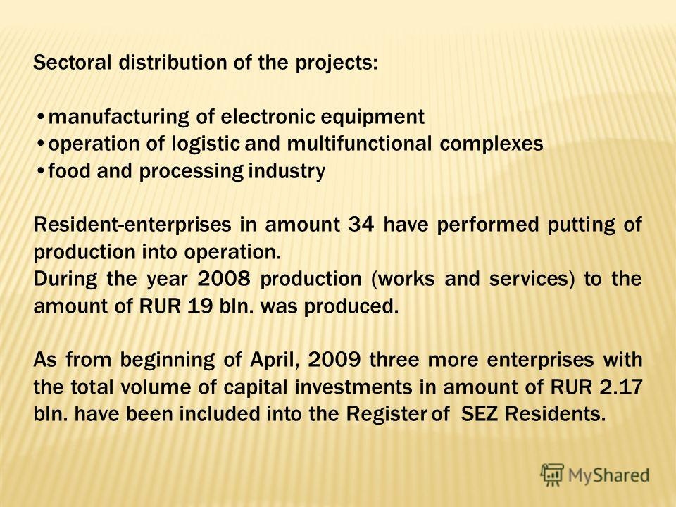 Sectoral distribution of the projects: manufacturing of electronic equipment operation of logistic and multifunctional complexes food and processing industry Resident-enterprises in amount 34 have performed putting of production into operation. Durin