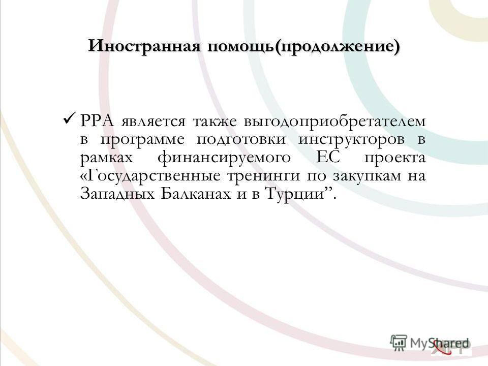 Иностранная помощь(продолжение) PPA является также выгодоприобретателем в программе подготовки инструкторов в рамках финансируемого ЕС проекта «Государственные тренинги по закупкам на Западных Балканах и в Турции.