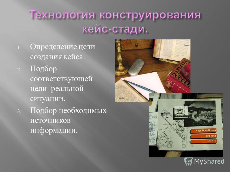 1. Определение цели создания кейса. 2. Подбор соответствующей цели реальной ситуации. 3. Подбор необходимых источников информации.