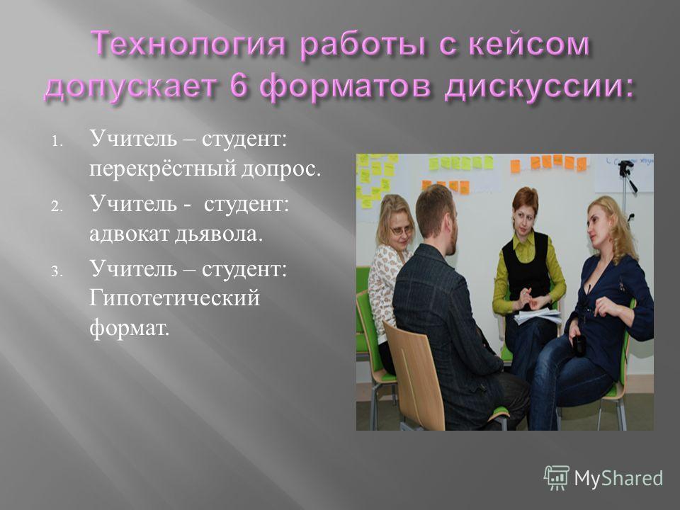 1. Учитель – студент : перекрёстный допрос. 2. Учитель - студент : адвокат дьявола. 3. Учитель – студент : Гипотетический формат.