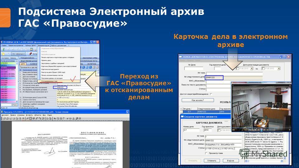 Подсистема Электронный архив ГАС «Правосудие» Карточка дела в электронном архиве Переход из ГАС «Правосудие» к отсканированным делам