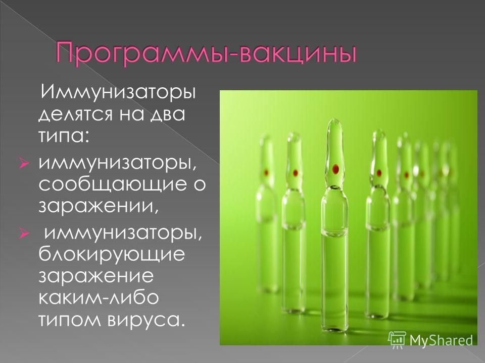 Иммунизаторы делятся на два типа: иммунизаторы, сообщающие о заражении, иммунизаторы, блокирующие заражение каким-либо типом вируса.