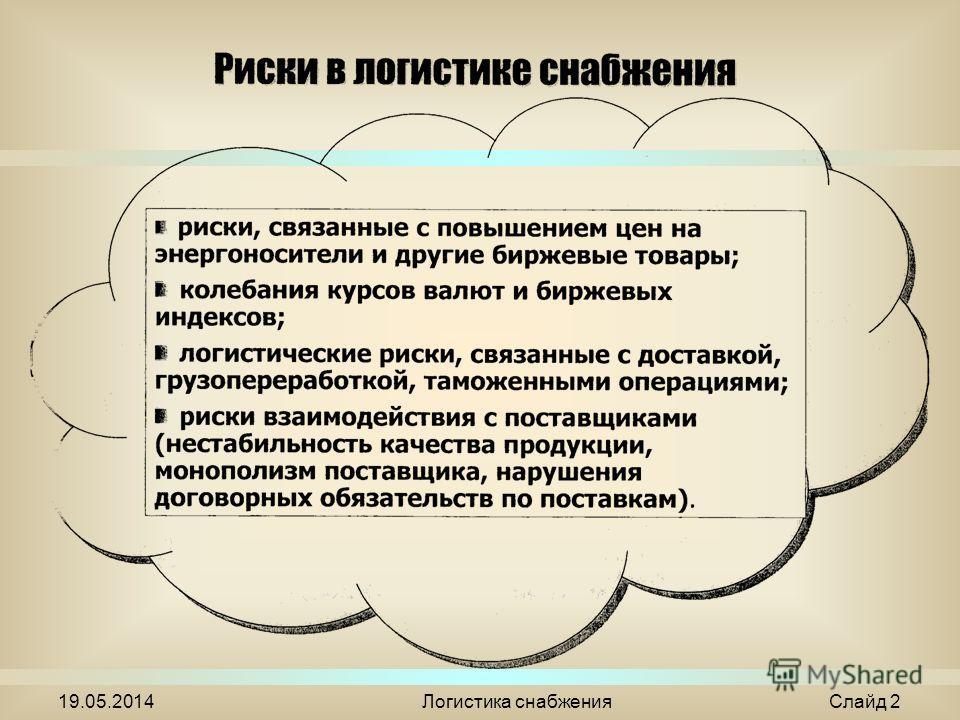 19.05.2014Логистика снабжения Слайд 2