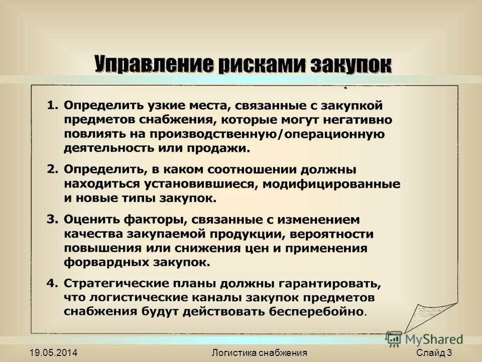 19.05.2014Логистика снабжения Слайд 3