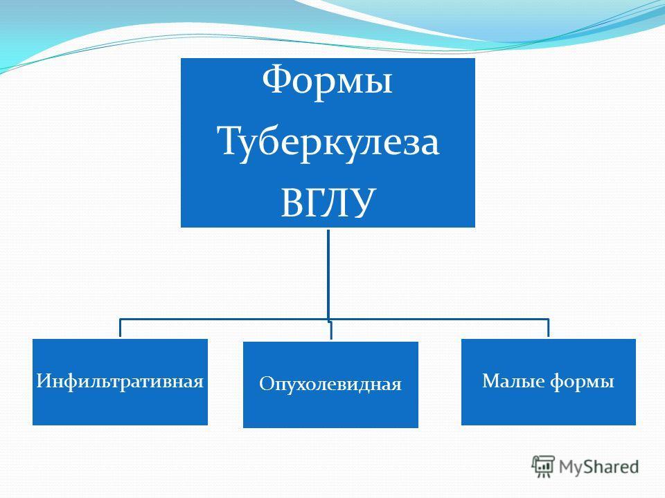 Формы Туберкулеза ВГЛУ Инфильтративная Опухолевидная Малые формы