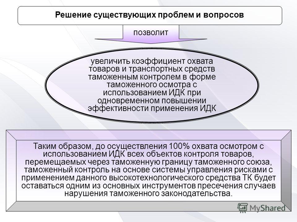 Таким образом, до осуществления 100% охвата осмотром с использованием ИДК всех объектов контроля товаров, перемещаемых через таможенную границу таможенного союза, таможенный контроль на основе системы управления рисками с применением данного высокоте