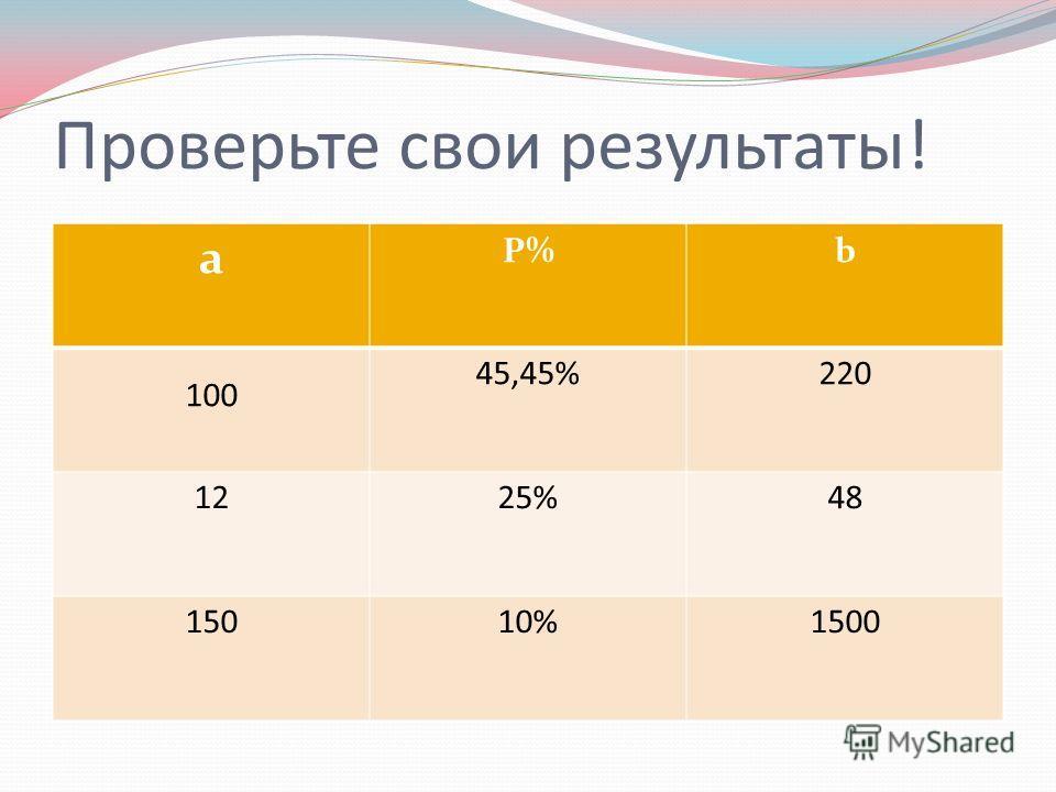 Проверьте свои результаты! a P%b 100 45,45%220 1225%48 15010%1500