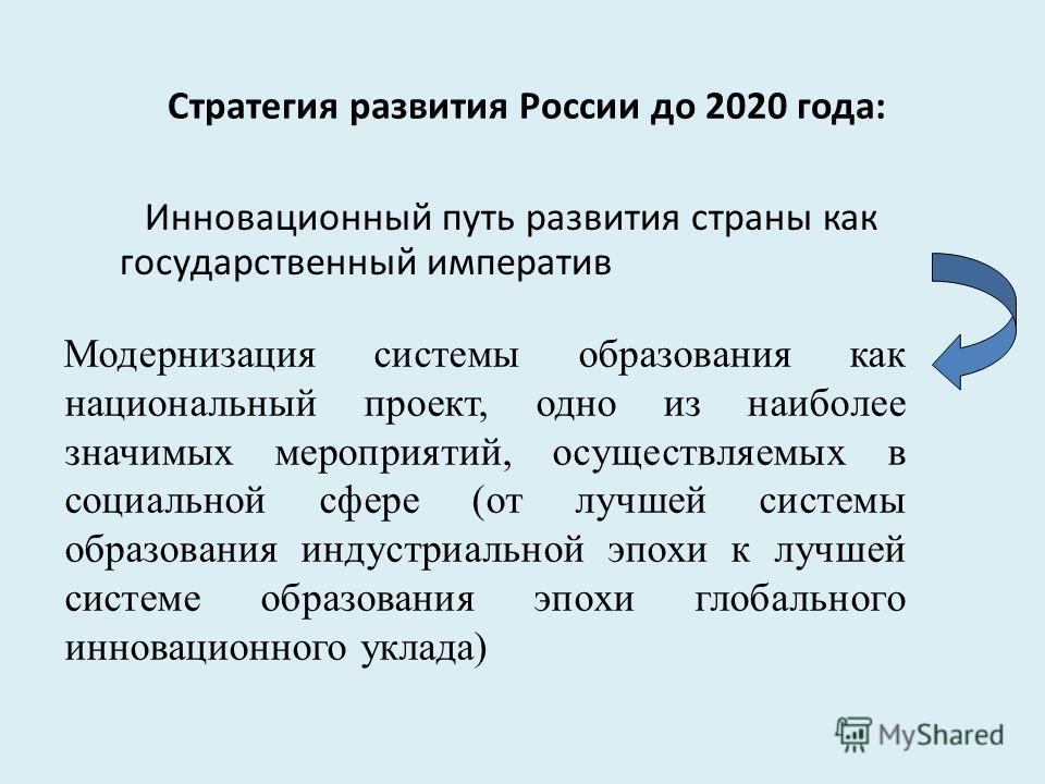 Стратегия развития России до 2020 года: Инновационный путь развития страны как государственный императив Модернизация системы образования как национальный проект, одно из наиболее значимых мероприятий, осуществляемых в социальной сфере (от лучшей сис