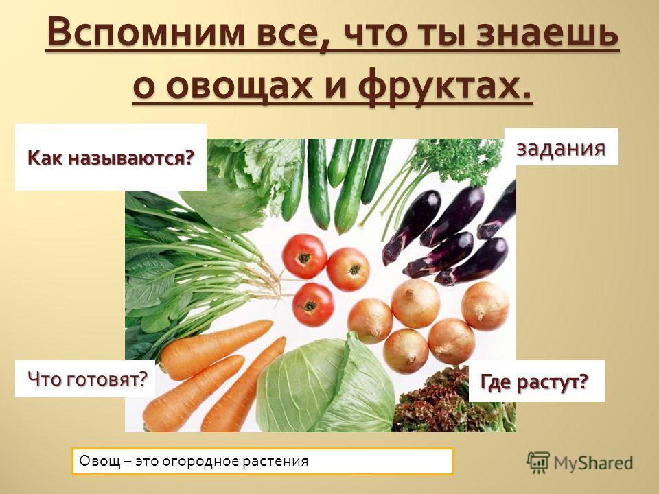 Вспомним все, что ты знаешь о овощах и фруктах. Где растут ? Что готовят ? задания Как называются ? Овощ – это огородное растения