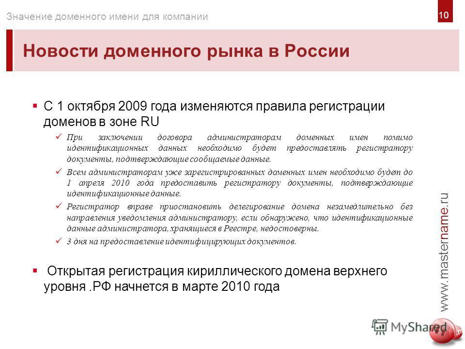 1010 Новости доменного рынка в России www.mastername.ru Значение доменного имени для компании С 1 октября 2009 года изменяются правила регистрации доменов в зоне RU При заключении договора администраторам доменных имен помимо идентификационных данных