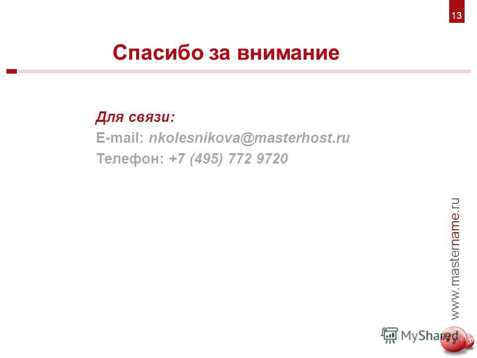 6. Для связи: E-mail: nkolesnikova@masterhost.ru Телефон: +7 (495) 772 9720 Спасибо за внимание 7 www.mastername.ru 1313