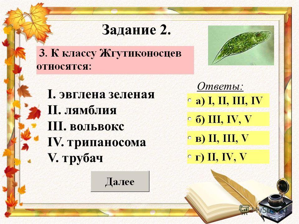 Задание 2. Ответы: I. эвглена зеленая II. лямблия III. вольвокс IV. трипаносома V. трубач