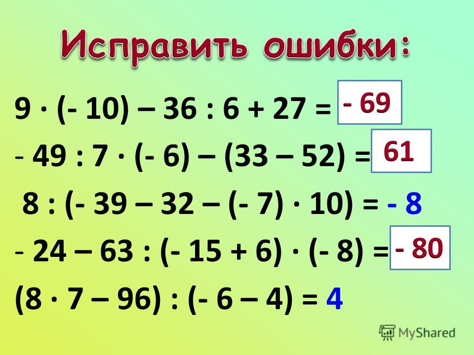 9 · (- 10) – 36 : 6 + 27 = 69 - 49 : 7 · (- 6) – (33 – 52) = - 60 8 : (- 39 – 32 – (- 7) · 10) = - 8 - 24 – 63 : (- 15 + 6) · (- 8) = 80 (8 · 7 – 96) : (- 6 – 4) = 4