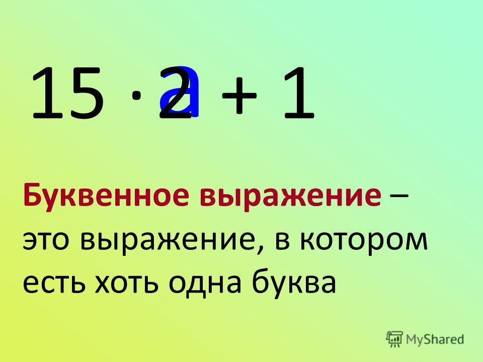 15 · + 1 a 2 Буквенное выражение – это выражение, в котором есть хоть одна буква