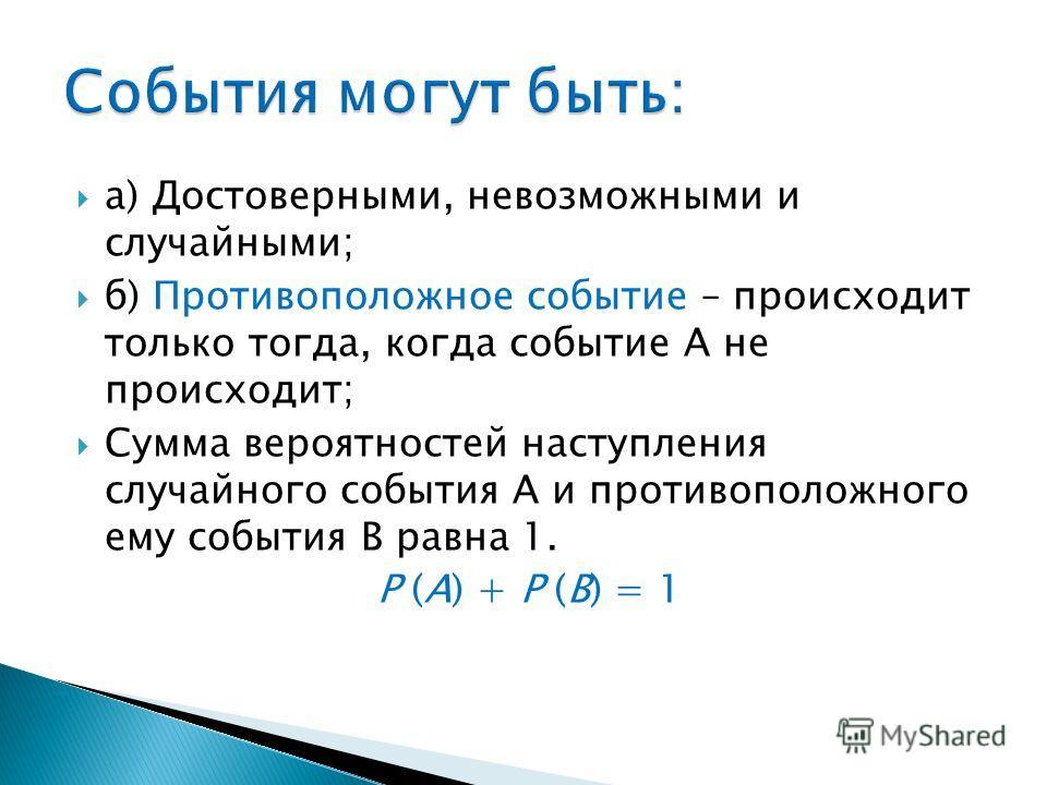 а) Достоверными, невозможными и случайными; б) Противоположное событие – происходит только тогда, когда событие А не происходит; Сумма вероятностей наступления случайного события А и противоположного ему события В равна 1. Р (А) + Р (В) = 1