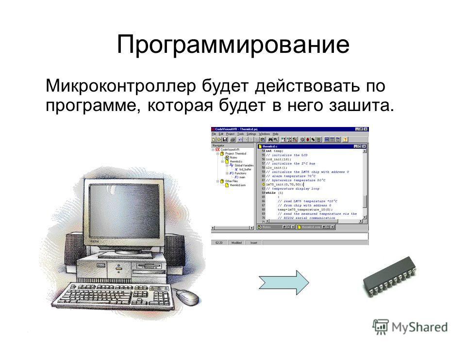 Микроконтроллер будет действовать по программе, которая будет в него зашита. Программирование