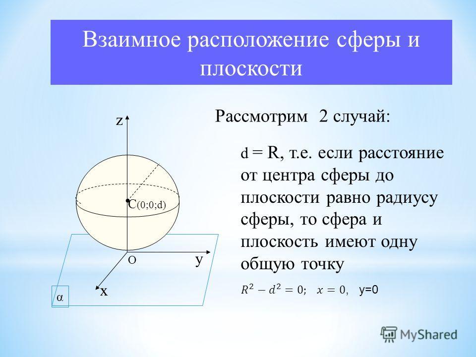 α Взаимное расположение сферы и плоскости C (0;0;d) х у z O Рассмотрим 2 случай: d = R, т.е. если расстояние от центра сферы до плоскости равно радиусу сферы, то сфера и плоскость имеют одну общую точку