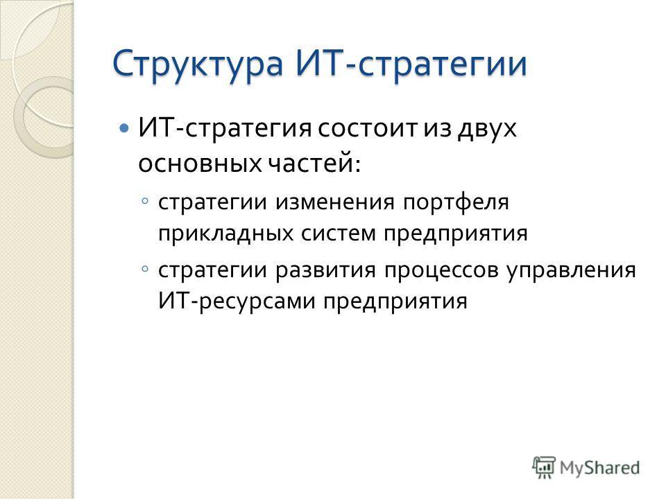 Структура ИТ - стратегии ИТ - стратегия состоит из двух основных частей : стратегии изменения портфеля прикладных систем предприятия стратегии развития процессов управления ИТ - ресурсами предприятия