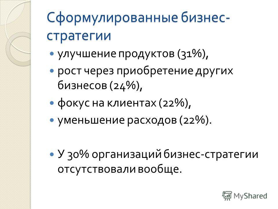 Сформулированные бизнес - стратегии улучшение продуктов (31%), рост через приобретение других бизнесов (24%), фокус на клиентах (22%), уменьшение расходов (22%). У 30% организаций бизнес - стратегии отсутствовали вообще.