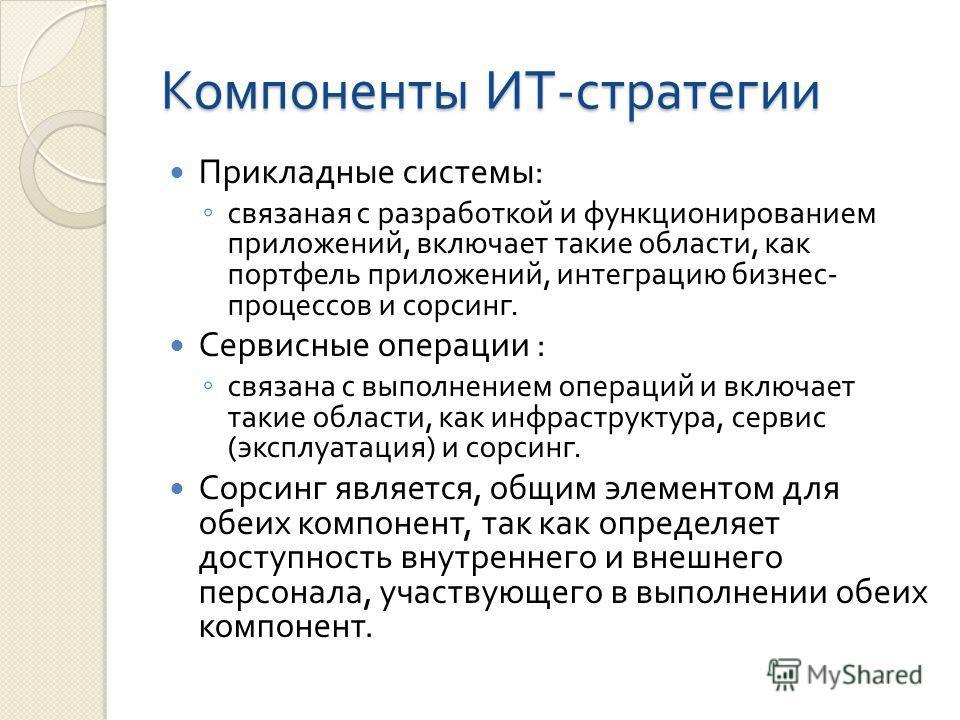 Компоненты ИТ - стратегии Прикладные системы : связаная с разработкой и функционированием приложений, включает такие области, как портфель приложений, интеграцию бизнес - процессов и сорсинг. Сервисные операции : связана с выполнением операций и вклю