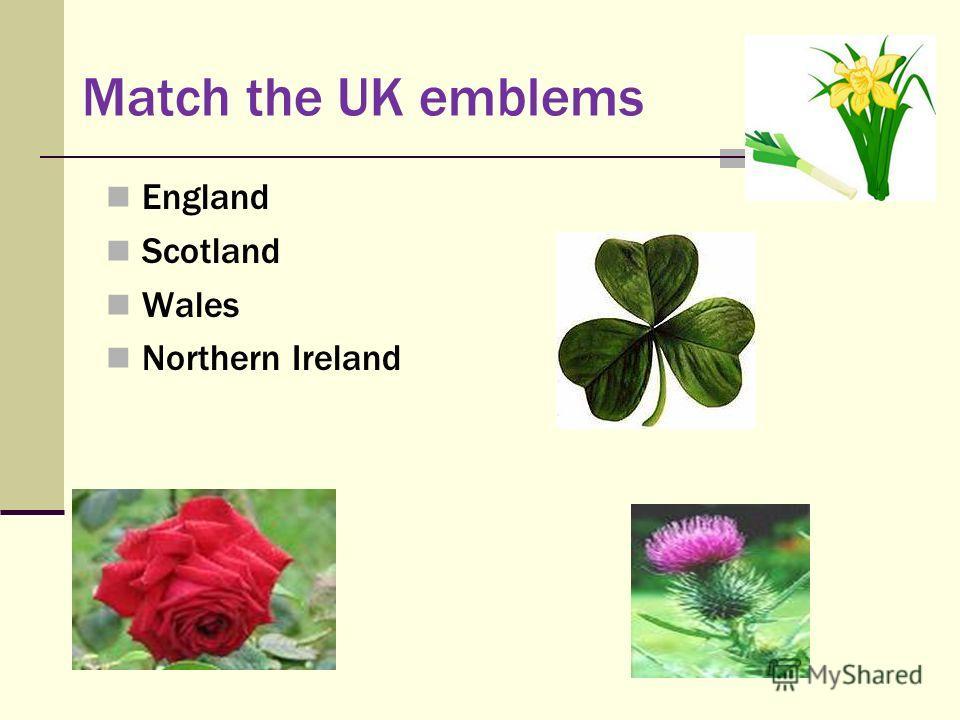 Match the UK emblems England Scotland Wales Northern Ireland