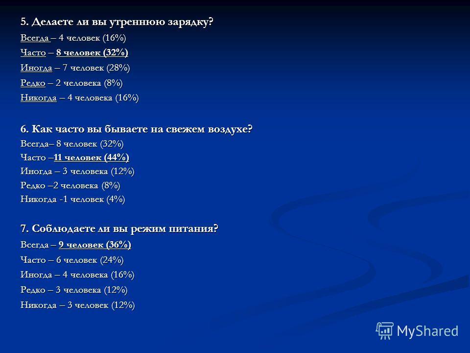 5. Делаете ли вы утреннюю зарядку? Всегда – 4 человек (16%) Часто – 8 человек (32%) Иногда – 7 человек (28%) Редко – 2 человека (8%) Никогда – 4 человека (16%) 6. Как часто вы бываете на свежем воздухе? Всегда– 8 человек (32%) Часто –11 человек (44%)