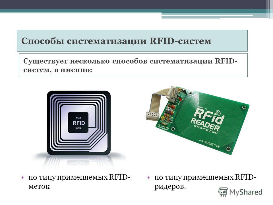 Существует несколько способов систематизации RFID- систем, а именно: по типу применяемых RFID- меток по типу применяемых RFID- ридеров. Способы систематизации RFID-систем