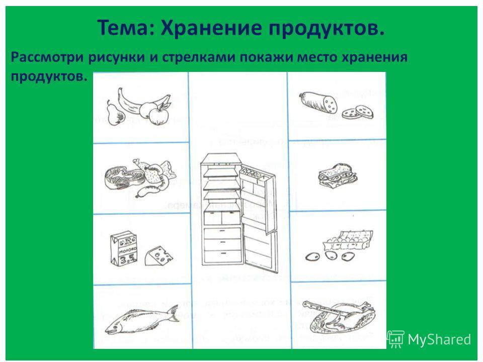 Тема: Хранение продуктов. Рассмотри рисунки и стрелками покажи место хранения продуктов.