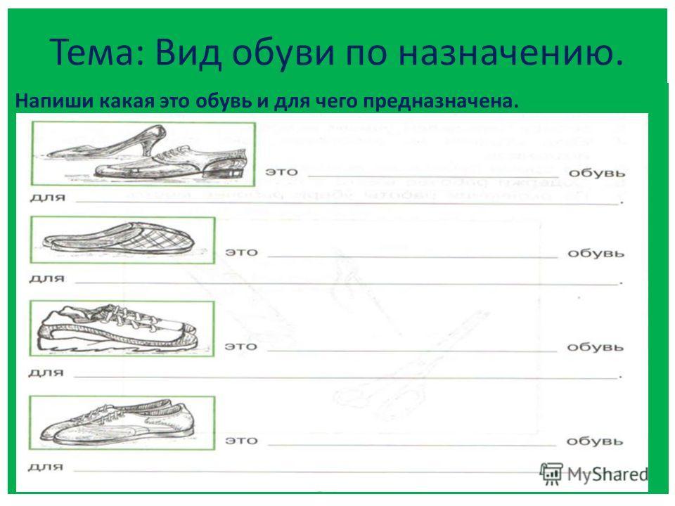 Тема: Вид обуви по назначению. Напиши какая это обувь и для чего предназначена.