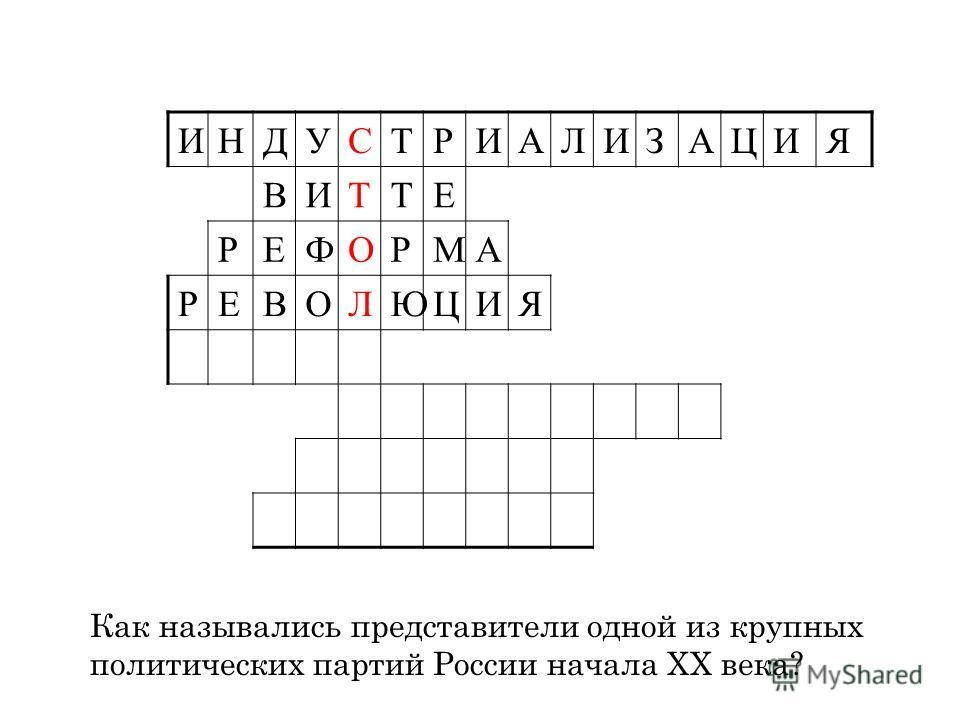 ИНДУСТРИАЛИЗАЦИЯ ВИТТЕ РЕФОРМА РЕВОЛЮЦИЯ Как назывались представители одной из крупных политических партий России начала ХХ века?