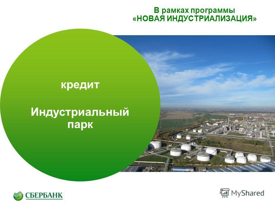 В рамках программы «НОВАЯ ИНДУСТРИАЛИЗАЦИЯ» кредит Индустриальный парк