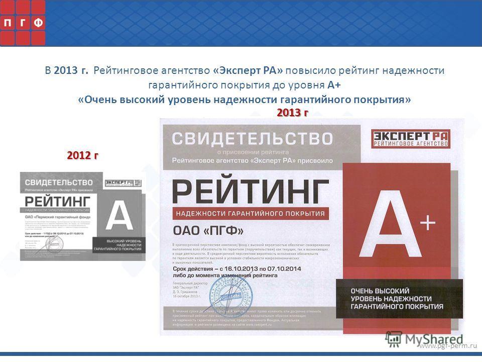 www.pgf-perm.ru В 2013 г. Рейтинговое агентство «Эксперт РА» повысило рейтинг надежности гарантийного покрытия до уровня А+ «Очень высокий уровень надежности гарантийного покрытия» 2012 г 2013 г