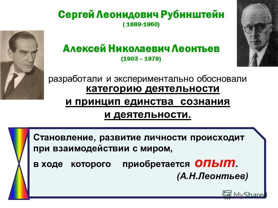 Сергей Леонидович Рубинштейн ( 1889-1960) Алексей Николаевич Леонтьев (1903 – 1979) разработали и экспериментально обосновали категорию деятельности и принцип единства сознания и деятельности. Становление, развитие личности происходит при взаимодейст