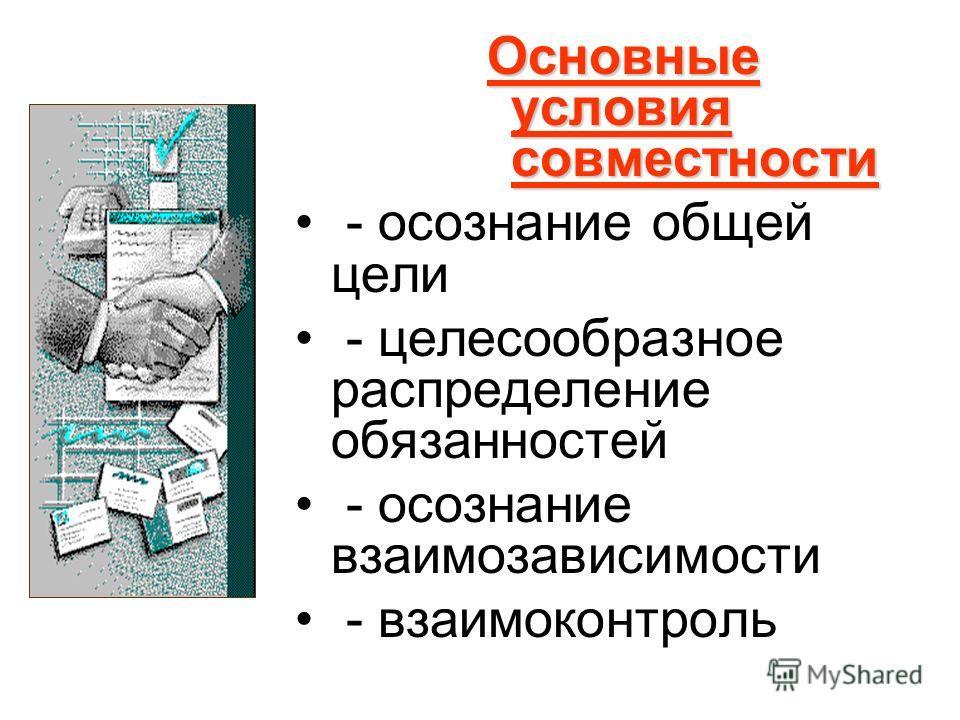 Основные условия совместности - осознание общей цели - целесообразное распределение обязанностей - осознание взаимозависимости - взаимоконтроль