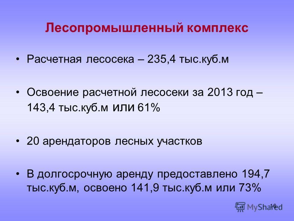 16 Лесопромышленный комплекс Расчетная лесосека – 235,4 тыс.куб.м Освоение расчетной лесосеки за 2013 год – 143,4 тыс.куб.м или 61% 20 арендаторов лесных участков В долгосрочную аренду предоставлено 194,7 тыс.куб.м, освоено 141,9 тыс.куб.м или 73%