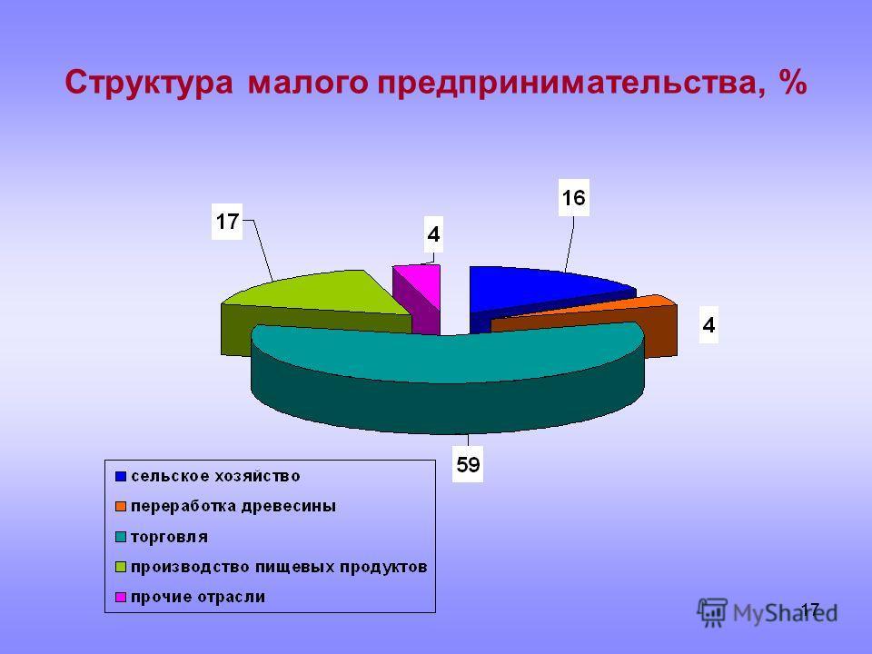 17 Структура малого предпринимательства, %
